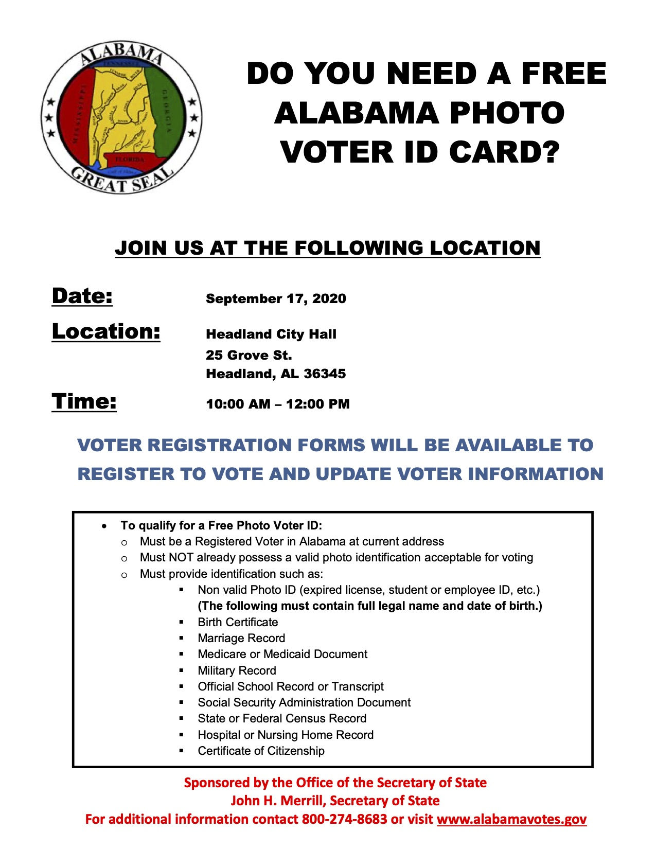 Henry County AL Photo Voter ID Event Flier 9 17 2020
